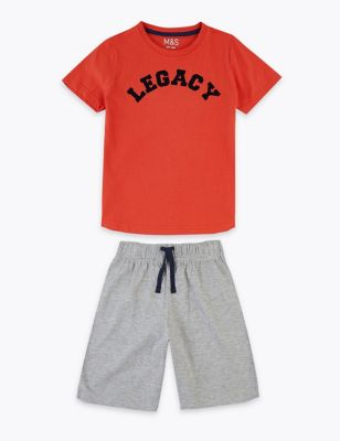Cotton Legacy Slogan Short Pyjama Set (1-16 Yrs)