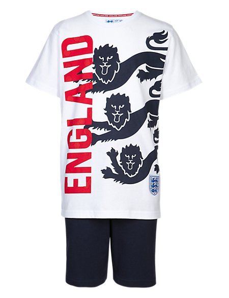 England FA Pure Cotton 3 Lions Short Pyjamas