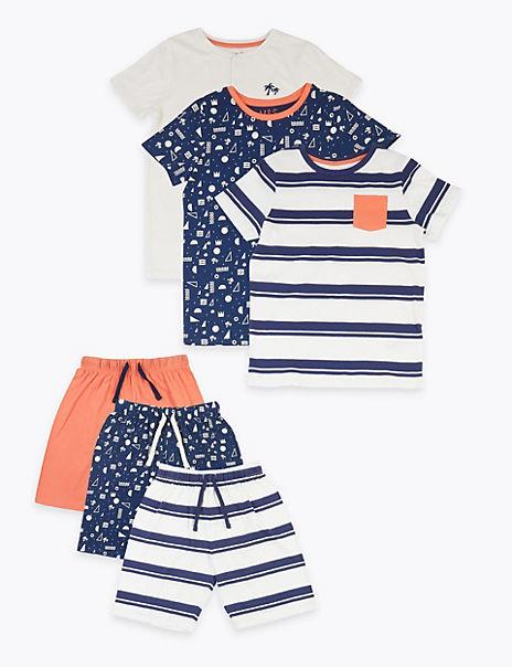 3 Pack Cotton Nautical Short Pyjama Sets (6-16 Years)