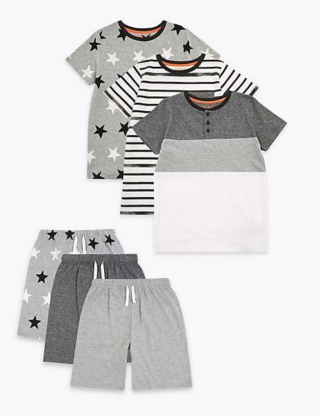 3 Pack Cotton Rich Monochrome Pyjama Sets (6-16 Years)