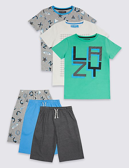 3 Pack Printed Short Pyjamas (3-16 Years)