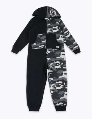 Fashion Chic Kids Army Camo Print Onesie Hooded Jumpsuit All in One Boys Girls Fleece 3-16 Years