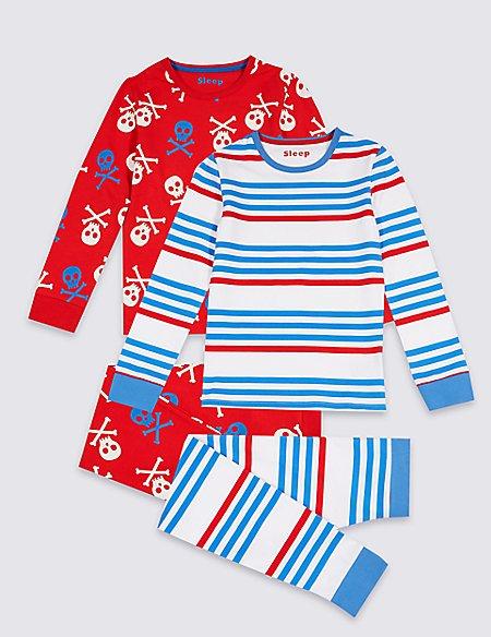 2 Pack Pyjamas with Stretch (3-16 Years)