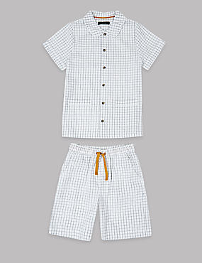 Pure Cotton Checked Short Pyjamas (1-16 Years)