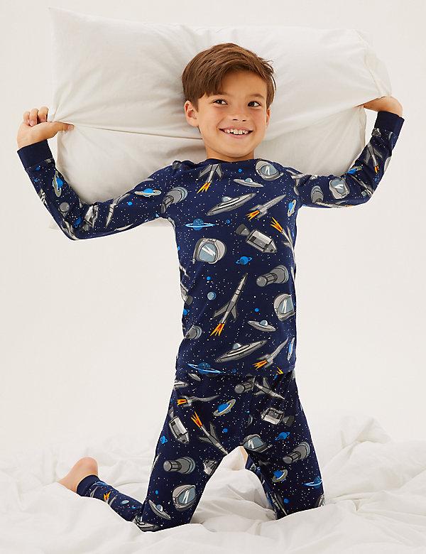 Katoenen pyjama met ruimtemotief (7-16 jaar)