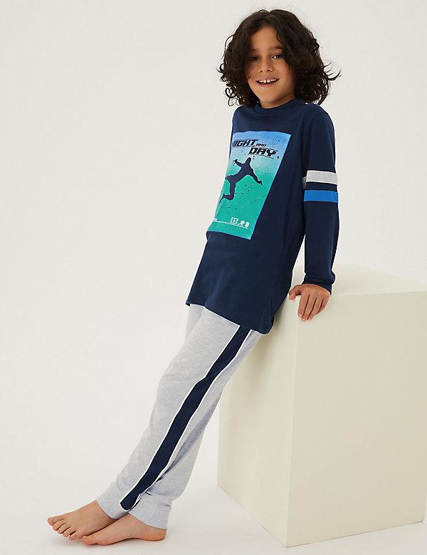 2pk Cotton Football Print Pyjama Sets (6-16 Yrs)