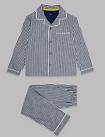 Pure Cotton Gingham Checked Pyjamas (1-16 Years)