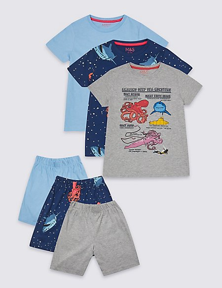 3 Pack Short Pyjamas (3-16 Years)