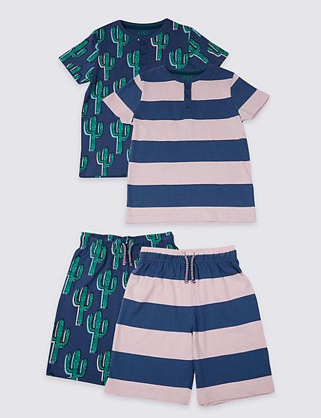 2 Pack Pure Cotton Short Pyjamas (3-16 Years)