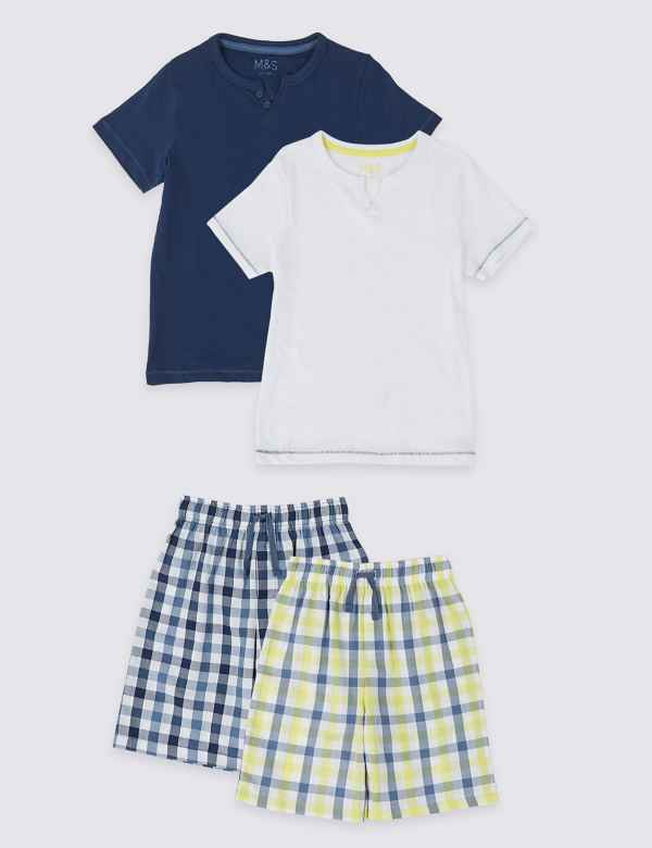 0fbcffa7f1598 2 Pack Woven Checked Short Pyjamas (3-16 Years)