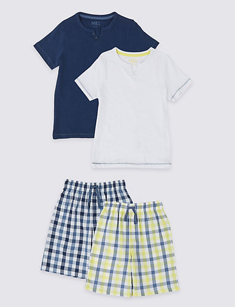 2 Pack Woven Checked Short Pyjamas (3-16 Years)