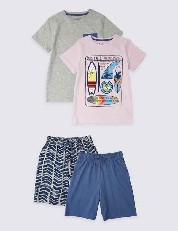 d8834a3c1 2 Pack Surfboard Short Pyjamas (3-16 Years)