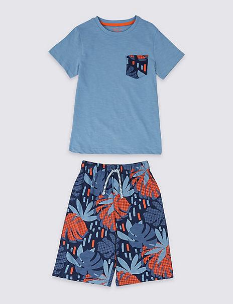 Pure Cotton Tropical Short Pyjamas (3-16 Years)