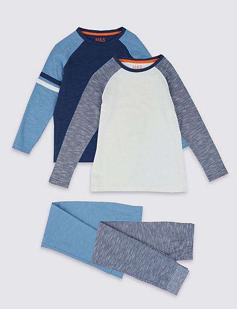 2 Pack Cotton Raglan Pyjama Set (3-16 Years)