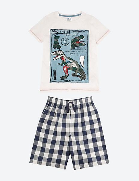Dinosaur Print Shortie Pyjama Set (3-16 Years)