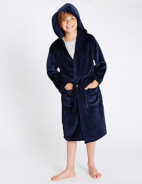 Hooded Dressing Gown (1-16 Yrs), NAVY MIX, catlanding