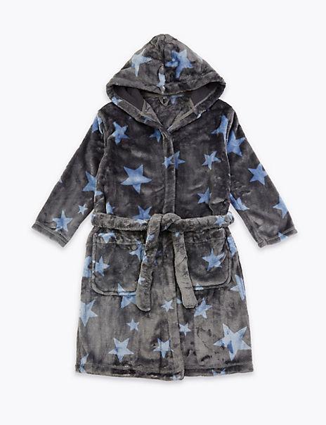 Fleece Star Print Dressing Gown (1-16 Years)
