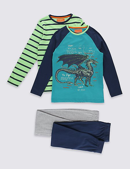 2 Pack Dragon Print & Striped Pyjamas (6-16 Years)