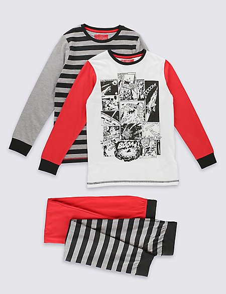 2 Pack Pure Cotton Comic & Striped Pyjamas (6-16 Years)