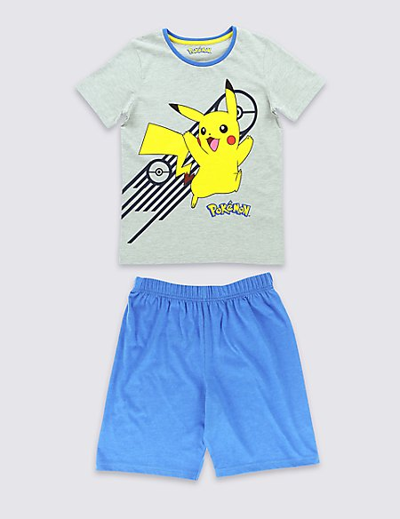 Cotton Blend Pokemon Boys Shortie Pyjamas (2-12 Years)