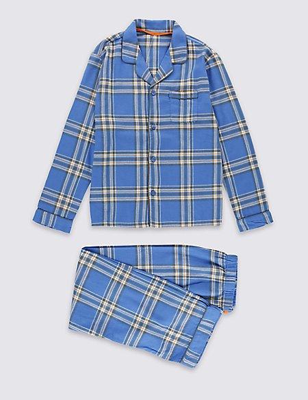 Pure Cotton Checked Pyjamas (1-16 Years)