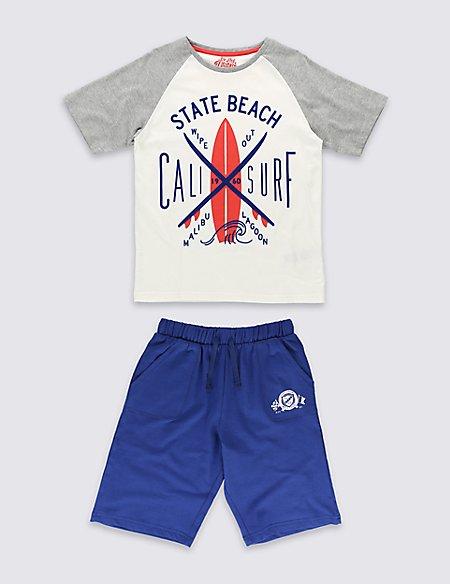 c8bf96c1996 Pure Cotton Cali Surf Stay Soft Short Pyjamas (6-16 Years)