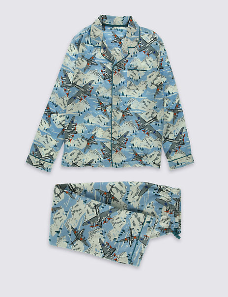 Pure Cotton Aeroplane Print Pyjamas (1-16 Years)