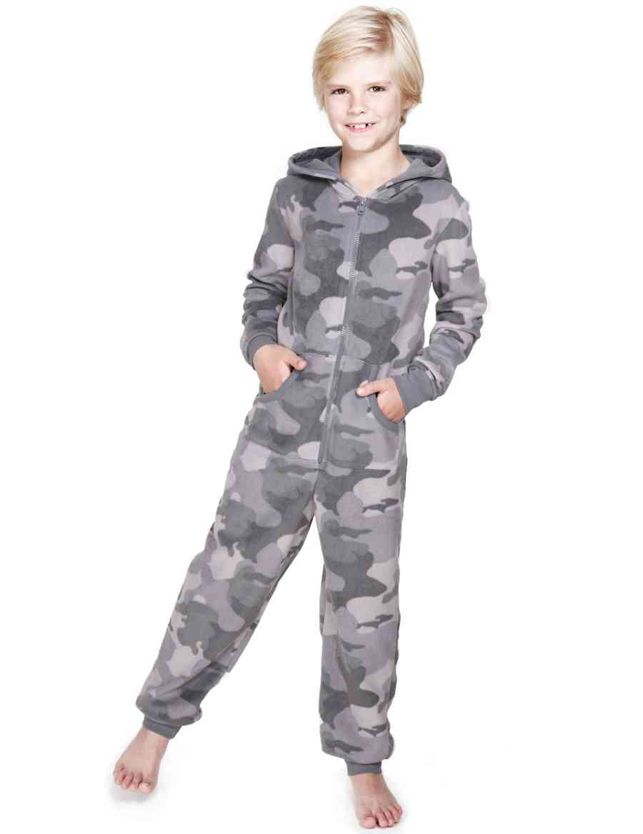 28e0f511dc5e Hooded Camouflage Fleece Onesie with StayNEW™ (5-14 Years)