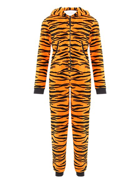 Hooded Tiger Fleece Soft & Cosy Onesie with StayNEW™