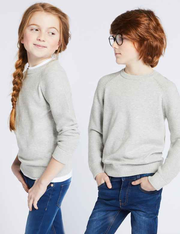 b8ca63494419 Pure Cotton Ribbed Jumper (3-16 Years)
