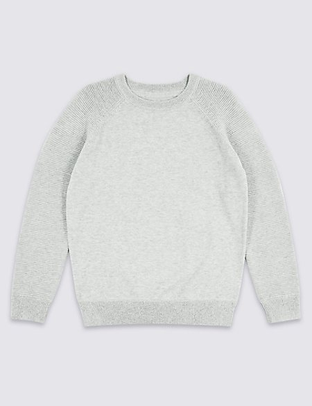 Pure Cotton Ribbed Jumper (3-16 Years)