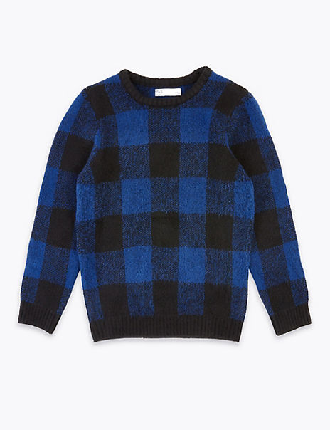 Oversized Checked Jumper (3-16 Years)