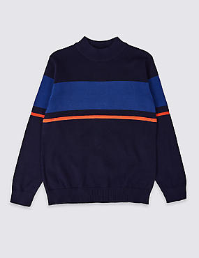 Pure Cotton Colour Block Jumper (3-16 Years)