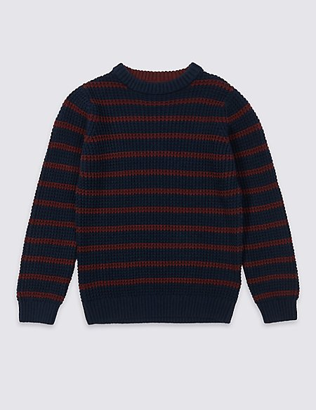 Cotton Rich Knitted Striped Jumper (3-16 Years)