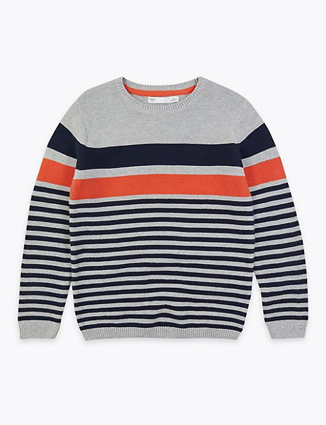 Cotton Striped Knitted Jumper (6-16 Years)