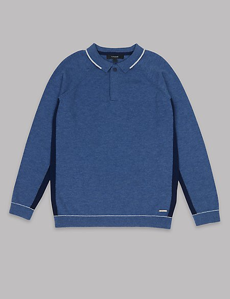 Cotton Blend Knitted Polo Shirt (3-16 Years)