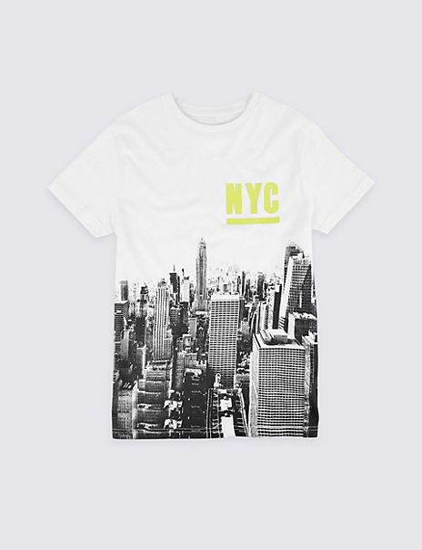 Cotton NYC Print T-Shirt (3-16 Years)