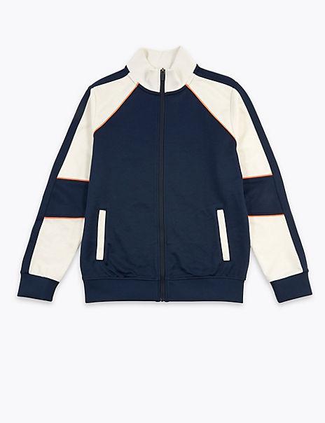 Stripe Detail Zip Through Sweatshirt (6-16 Years)