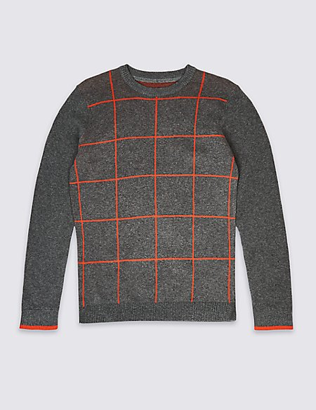 Pure Cotton Checked Sweatshirt (3-16 Years)