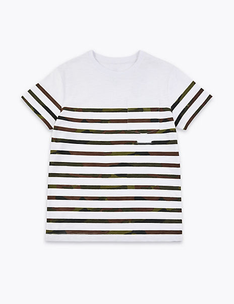 Easy Dressing Pure Cotton Striped Camo T-Shirt (1-16 Years)
