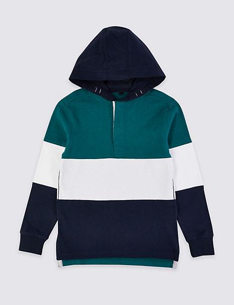 Pure Cotton Hooded Rugby Top (3-16 Years)