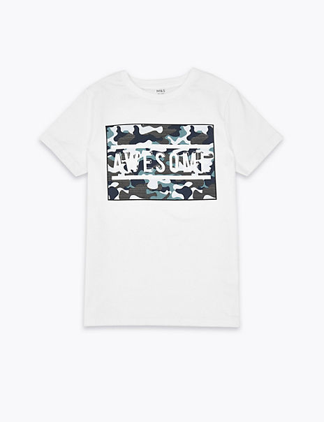 Cotton Awesome Slogan Camouflage Print T-Shirt (3-16 Years)