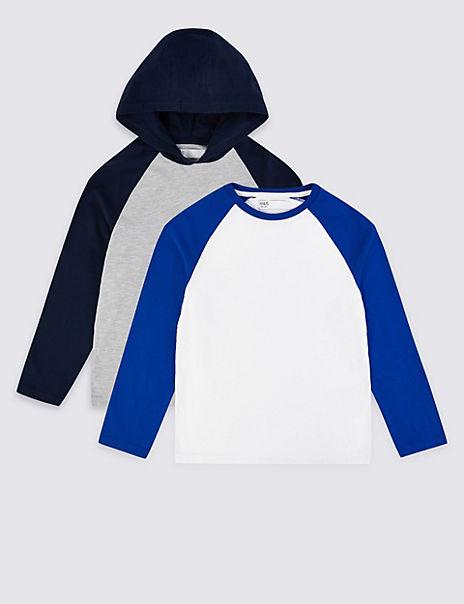 2 Pack Cotton Raglan Sleeve Tops (3-16 Years)
