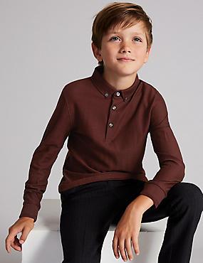 Pure Cotton Polo Shirt (3-16 Years), BURGUNDY, catlanding
