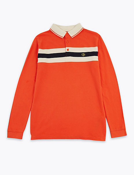 Cotton Chest Stripe Polo Shirt (6-16 Years)