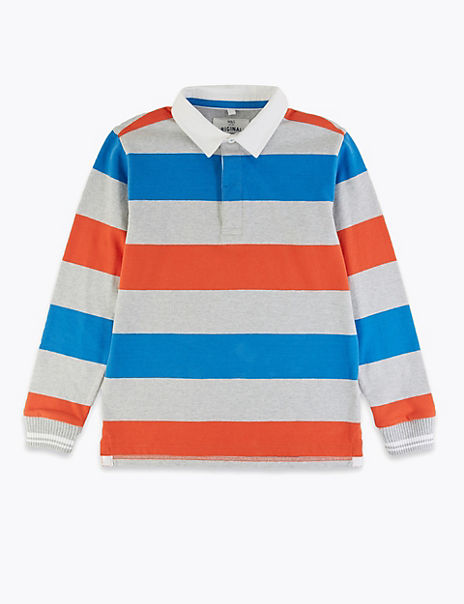 Cotton Multi Striped Rugby Top (6-16 Years)