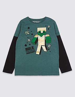 Pure Cotton Minecraft™ T-Shirt (3-16 Years), MULTI, catlanding