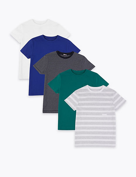 5 Pack Adaptive Pure Cotton Striped T-Shirts (1-16 Years)