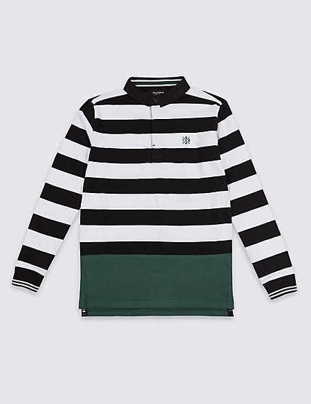 Pure Cotton Striped Rugby Top (3-16 Years)