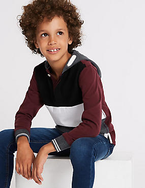Pure Cotton Colour Block Rugby Top (3-16 Years)